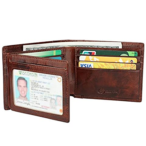 Men's Wallet - RFID Blocking Cowhide Leather Vintage Trifold Wallet (Chocolate) - Vintage Leather Accessories