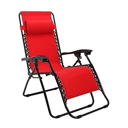 Silla reclinable Plegable Almuerzo Tumbona Tumbonas de Gravedad Cero Jardín Playa Rojo con reposacabezas con portavasos