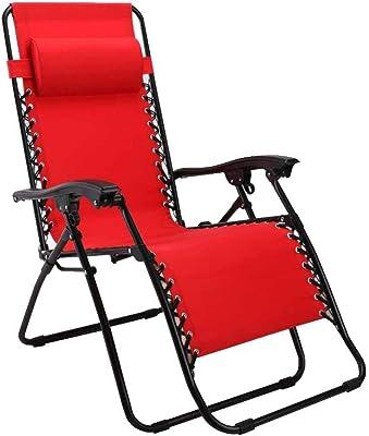 Folding Reclining Chair Lunch Break Sun Lounger Zero Gravity Deck Chairs Garden Beach Red with Headrest with Cup Holder