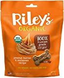 Riley's Organics - Peanut Butter & Molasses - 5 oz Large Biscuits - Human Grade Organic Dog Treats - Resealable Bag