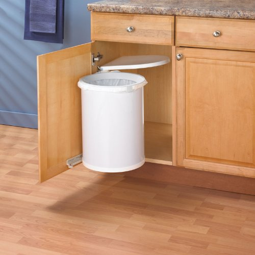 Amazon.com: KV By Hafele Side Mount Waste Bin, White, 32 Qt.: Home U0026 Kitchen