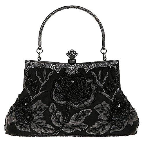 tique Bag Beaded Rose Evening Purse Clutch Handbag Classic Retro Party Ladies Soft Satin Bag NEW Women Black ()