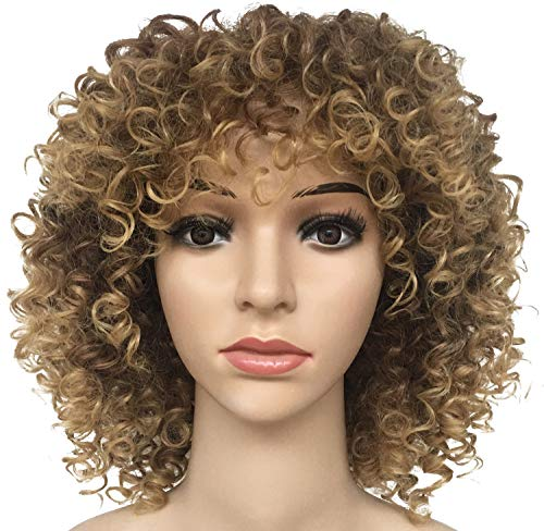 Target 70 Halloween (BLUBOON Short Brown Curly Wigs Synthetic Hair Wig for Women Afro Halloween Costume Cosplay Wigs + Wig Cap)