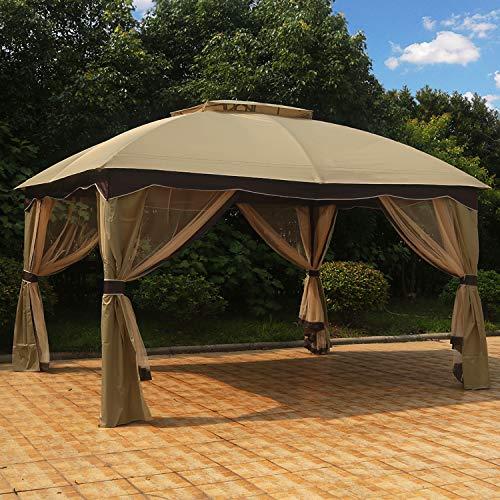(MASTERCANOPY Patio 10X12 Bermuda Gazebo Canopy Soft Top with Mosquito Netting (Coffee-Cream) )
