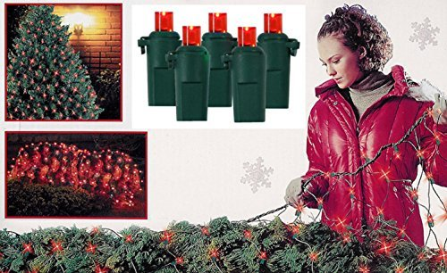 - Vickerman 4' x 6' Red LED Wide Angle Net Style Christmas Lights - Green Wire