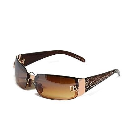 d5a7aeeea1 Amazon.com: New DG Womens Fashion Designer Sunglasses Shades Rectangular  Wrap Gold Brown: Everything Else