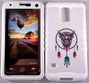 Cellphone Trendz HARD & SOFT RUBBER HYBRID HIGH IMPACT PROTECTIVE CASE COVER for Samsung Galaxy S5 i9600 - Tribal Dream Catcher Owl White Hard Case Design on White