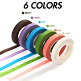 Noorlee 6 Colors Floral Tapes, Pack of 6 Self-Adhesive Masking Tapes, 1/2 in x 30 Yard for Bouquet Stem Wrap Florist (Pink, White, Green, Blue, Purple & Brown, Set of 6)