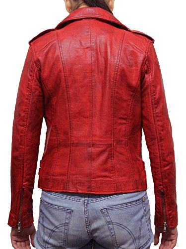 Brandslock Para mujer 100% cuero auténtico Chaqueta de motorista Armarios Los ciclistas Estilo Vintage Rock Rojo