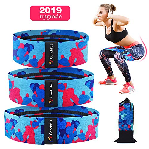 Conthfut Resistance Bands, Elastic Non-Slip Thick Cloth Circles Hip Loops, Workout Bands Hip Bands Wide Resistance Bands Hip Resistance Band for Legs and Butt, Set of 3, Camouflage Color(2019 Upgrade) ()