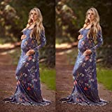 Auwer Womens Cowl Neck and Over The Shoulder Maternity Dress Floral Printe Maxi Dress Photography Props Pregnants Long Dress (S, Purple)