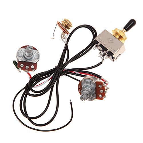 - Two Pickup Wiring Harness, Golden 500K Toggle, Black-Great with Humbuckers