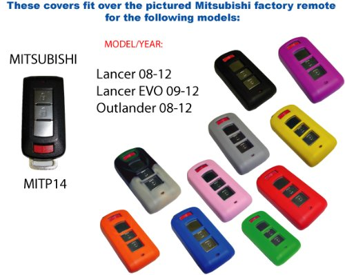 Gray Silicone Key Fob Cover Case Smart Remote Pouches Protection Key Chain Fits Mitsubishi Outlander 08-12
