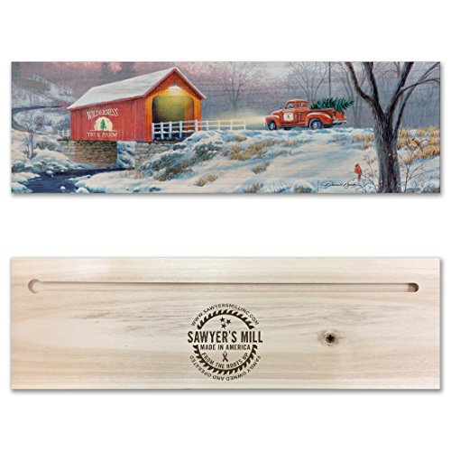 - Snow Covered Bridge & Old Red Truck from Wilderness Christmas Tree Farm with Cardinal - Handmade Wood Block Sign Featuring a Reproduction of a Darrell Bush Painting for Holiday Decor.