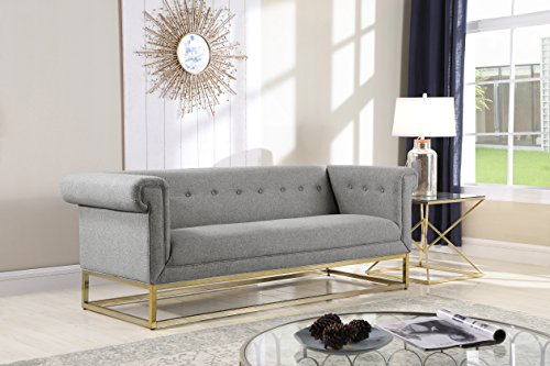 Iconic Home Palmira Sofa Button Tufted Linen-Textured Plush Cushion Brass Finished Brushed Metal Base Frame, Modern Transitional, (Ash Upholstered Table)