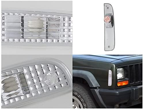 Right Pair Spec-D Tuning Chrome Housing Clear Lens Corner Lights for 1997-2001 Cherokee Parking Signal Lamps Assembly Left