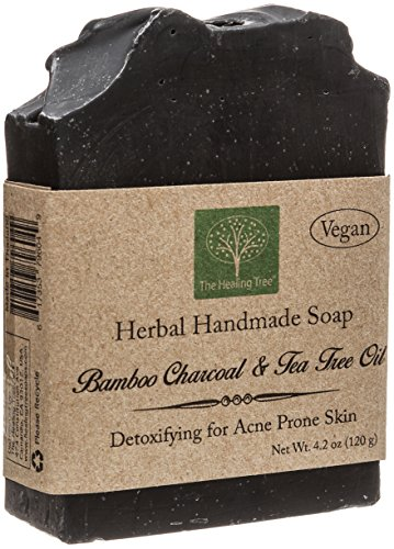 Handmade Herbal Soap Bar - Vegan Handmade Soap - Bamboo Charcoal & Tea Tree Oil for Acne Prone Skin by The Healing Tree