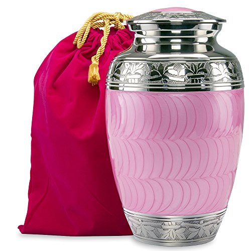 One Light Urn - Hugs and Kisses Light Pink Adult Urn For Human Ashes - This Large Elegant Light Pink Enamel and Nickel Urn Is a Perfect Tribute to Honor Your Loved One- w Velvet Bag