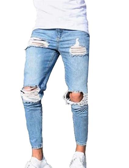 6a9a08b6d4da8 Battercake Jeans Homme en Jean Fit Jeans Extensible Super Skinny pour Homme  Confortable Pantalon en Jean Homme Skinny À Éclat Brillant (Bleu Clair)  (Color ...