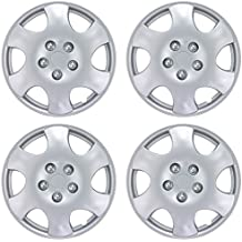 """BDK Toyota Corolla Hubcaps Wheel Cover, 15"""" Silver Replica Cover, OEM Factory Replacement (4 Pieces)"""