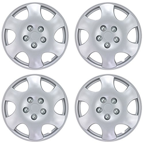 (BDK KT-1015- AMZKING Silver Hubcaps Wheel Covers for Toyota Corolla 15