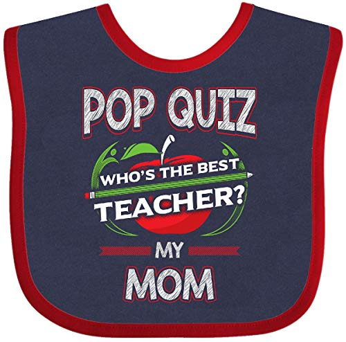 Inktastic - Pop Quiz Mom Best Teacher Baby Bib Navy and Red 2e0b8 ()