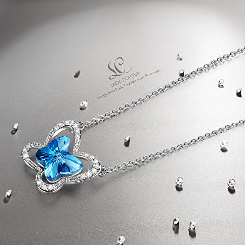 Christmas Gifts Swarovski Crystals Necklace, LadyColour Blue Butterfly Pendant Necklace Jewelry for Women Teen Girl Birthday Gifts for Girlfriend Girls Daughter Niece Granddaughter Sister Best Friend