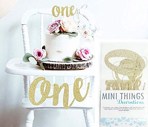 Mini Things 1st First Birthday Decoration Set One High Chair Banner and One Cake Topper (Gold)]()