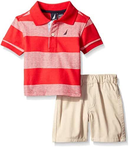 Nautica  Baby Boys Stripe Polo with Pull on Short Set