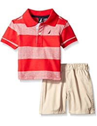 Baby Boys Stripe Polo with Pull on Short Set