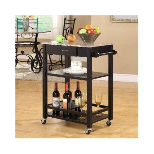 Wooden Kitchen Cart Buffet Marbled Island Top Wheels Serve Storage Shelf Black