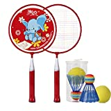 Decoq Mini Badminton Set for Kids with 2 Rackets, 2 Balls and Cover, Hot Outdoor Racquets for Children (Red)
