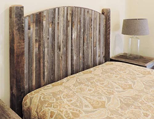 Modern Farmhouse Style Arched Queen Size Bed Headboard with Narrow Weathered Reclaimed Wood Slats, Rustic Contemporary…