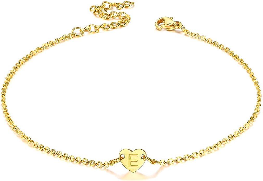 FaithHeart Letra Inicial Mini Corazón Tobillera Delgada de Acero Inoxidable 316L Joyería Simple y Romántica para Mujeres/Muchachas Accesorios de Verano