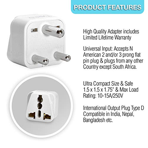 Ceptics India Travel Plug Adapter (Type D) for Pakistan, Nepal, Bangladesh - 3 Pack [Grounded & Universal] (GP-10-3PK) by Ceptics (Image #5)