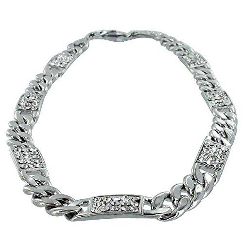 Colliers Diamant CZ Argent Chaîne à maillons Gourmette 11mm-61cm