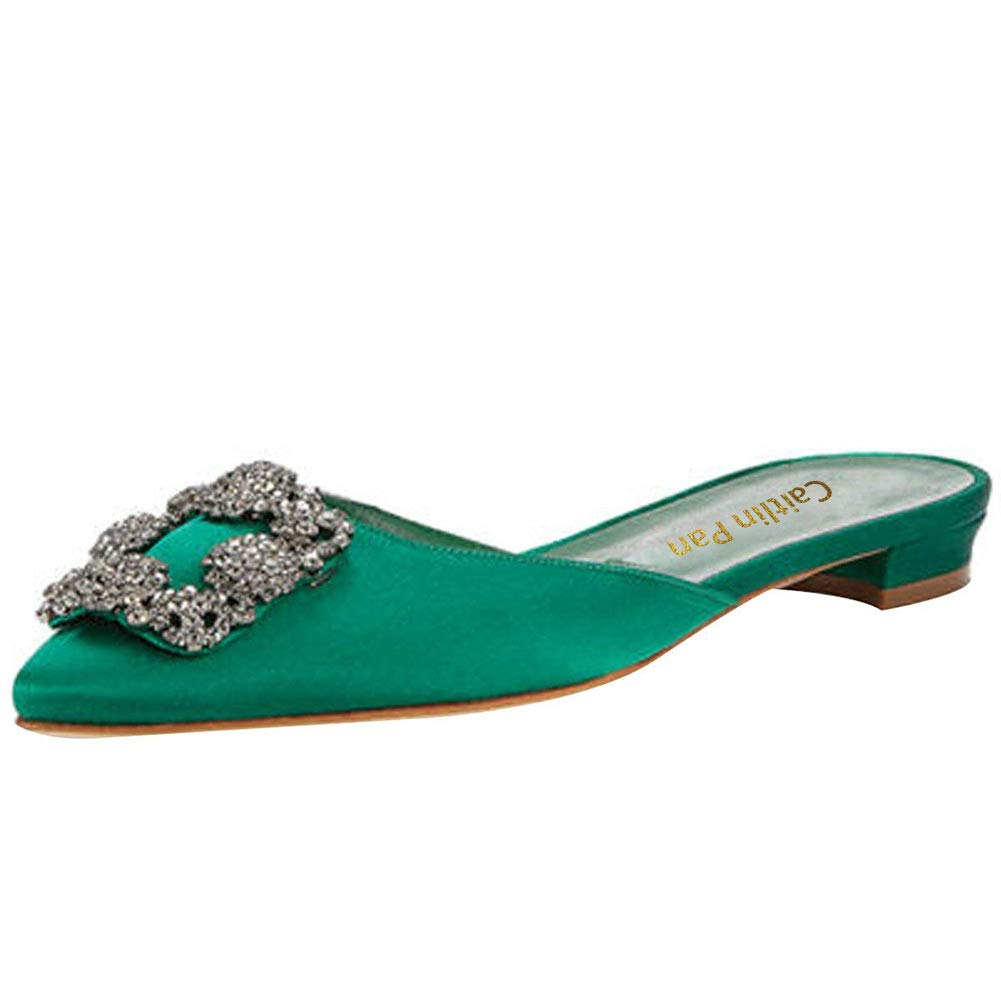 Caitlin Pan Femmes de Escarpins Classique Talons Hauts Caitlin Satin Satin Bout Pointu Diamants Talon Aiguille Chaussures de Robe Green Slipper-nude Insole 66e109a - reprogrammed.space