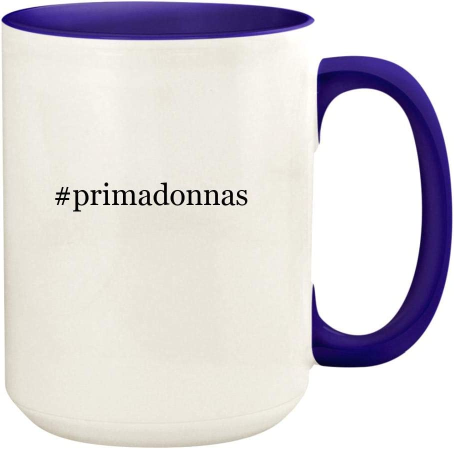 #primadonnas - 15oz Hashtag Ceramic Colored Handle and Inside Coffee Mug Cup, Deep Purple