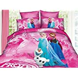 Carry Supply Children's Bedding Princess Elsa Anna Frozen Bedding Set Pink/Blue, 4-Piece (This Bedding Set is not Include a Comforter or Any Filling) (Pink, Twin)