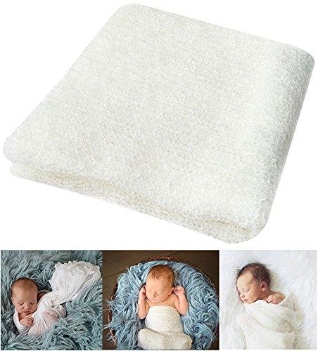 Bassion Newborn Photography Props Newborn Baby Stretch Long Ripple Wrap Yarn Cloth Blanket by,Off White,16 x 60