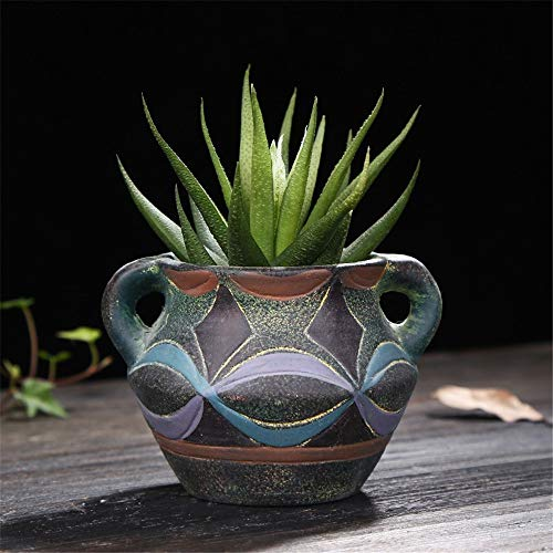 - Mini Mediterranean Ceramic Blue Green Square Geometry Green Plant Fleshy Flower Pot, Cylindrical Shape Succulent Potted/Cactus Succulent Potted Pot/Container / Flower Pot Packaging