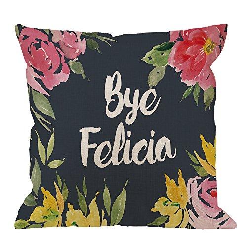 HGOD DESIGNS Throw Pillow Case Flower Bye Felicia Cotton Linen Square Cushion Cover Standard Pillowcase for Men Women Home Decorative Sofa Armchair Bedroom Livingroom 18 x 18 inch