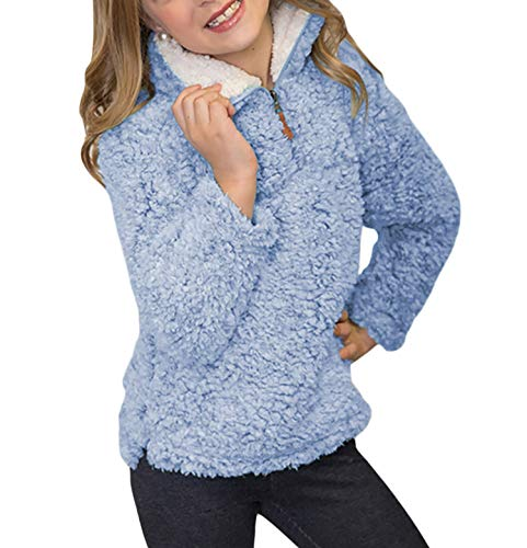 Blibea Girl Clothes Fluffy Fleece Zip Sweatshirt Pullover Tops Casual Outwear Jacket Coat Size 8 9 Blue-Z