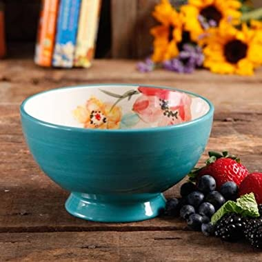 The Pioneer Woman Flea Market 6  Decorated Footed Bowls, Turquoise & Floral, Set of 4