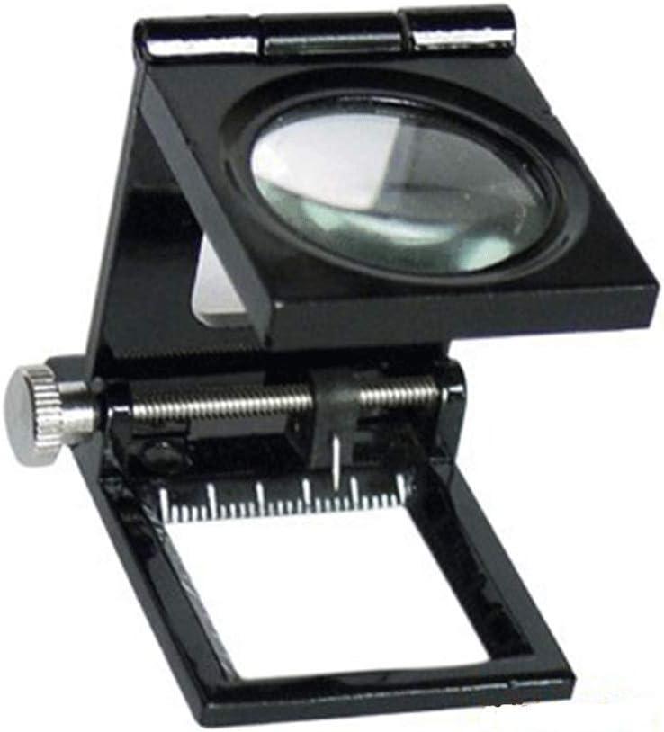 HJTLK Básculas de baño Digitales, Lupa Plegable 10 Veces con lámpara de Vidrio de Escritorio 10 Veces según el Espejo de Tela con Escala 47MM Veces