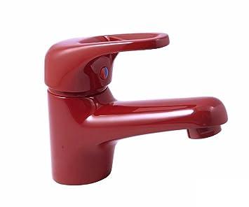 Tecuro Einhebel Waschtischarmatur MILANO Rot RAL3003 Mit Ablaufgarnitur