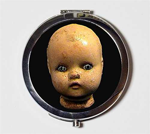 Doll Head Compact Mirror Victorian Creepy Goth Make Up Pocket Mirror for Cosmetics