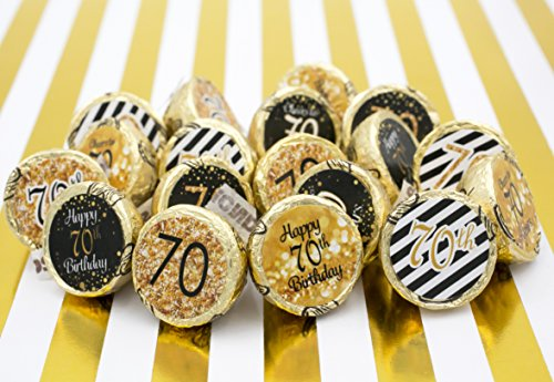70th Birthday Party Favor Stickers Gold And Black Set