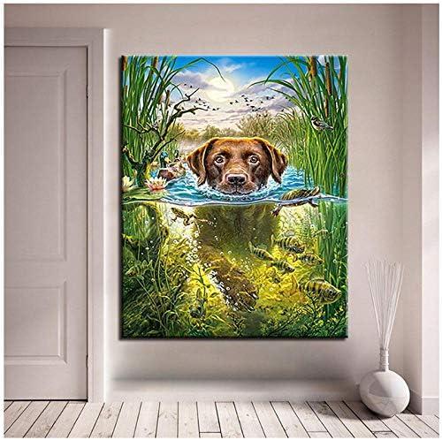 数字で描く犬キャンバス壁アート着色動物魚写真描画家の装飾ギフト-50x70cm枠なし