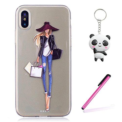 iPhone X Hülle Pack Mädchen Premium Handy Tasche Schutz Transparent Schale Für Apple iPhone X / iPhone 10 (2017) 5.8 Zoll Mit Zwei Geschenk